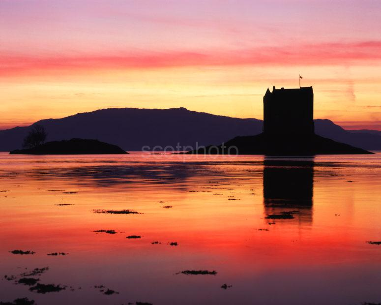 Banded Sunset Over Castle Stalker From Appin