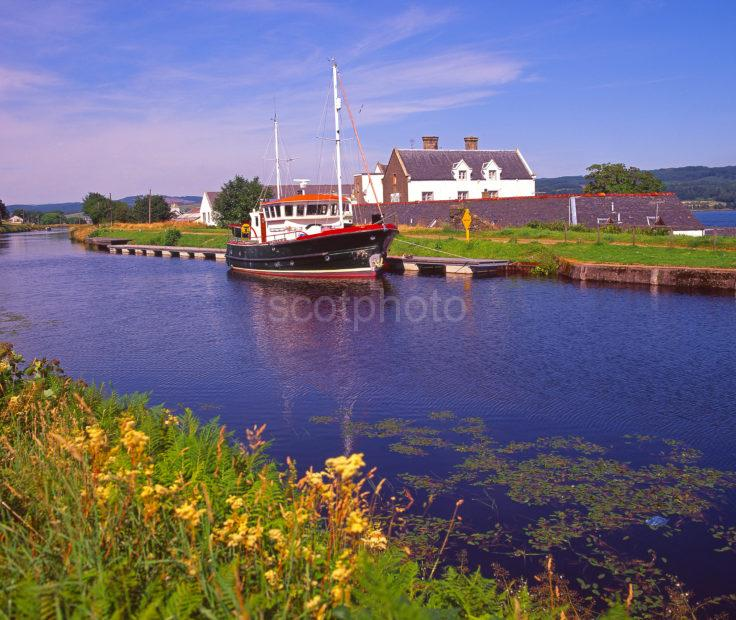 A Peaceful Scene On The Crinan Canal Near Ardrishaig Village Argyll