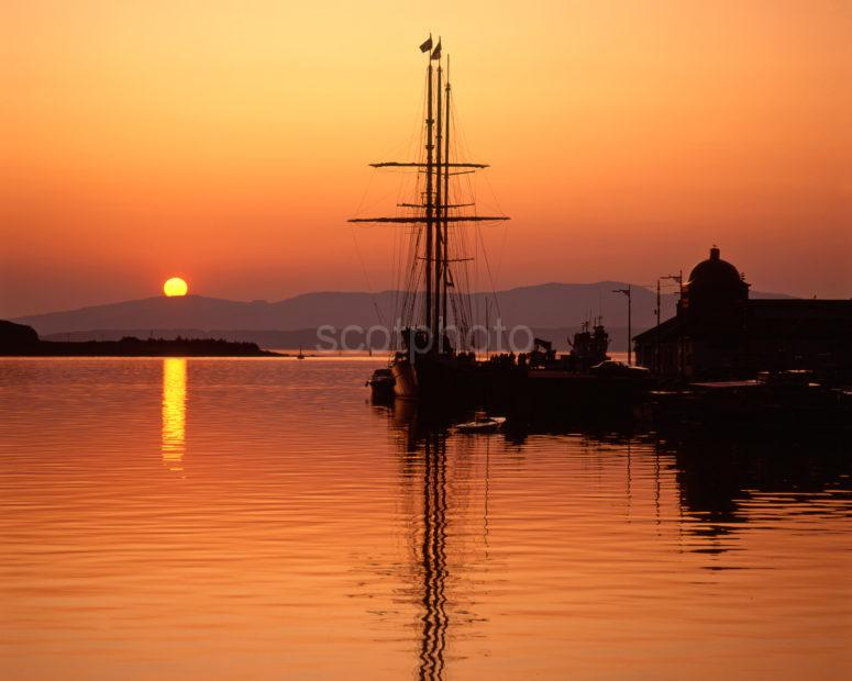 Tall Ship Sunset At The North Pier Oban Argyll