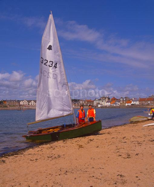 Sailing Activities On The Lovely Beach At Ellie A Small Resort On The Fife Coast Firth Of Forth
