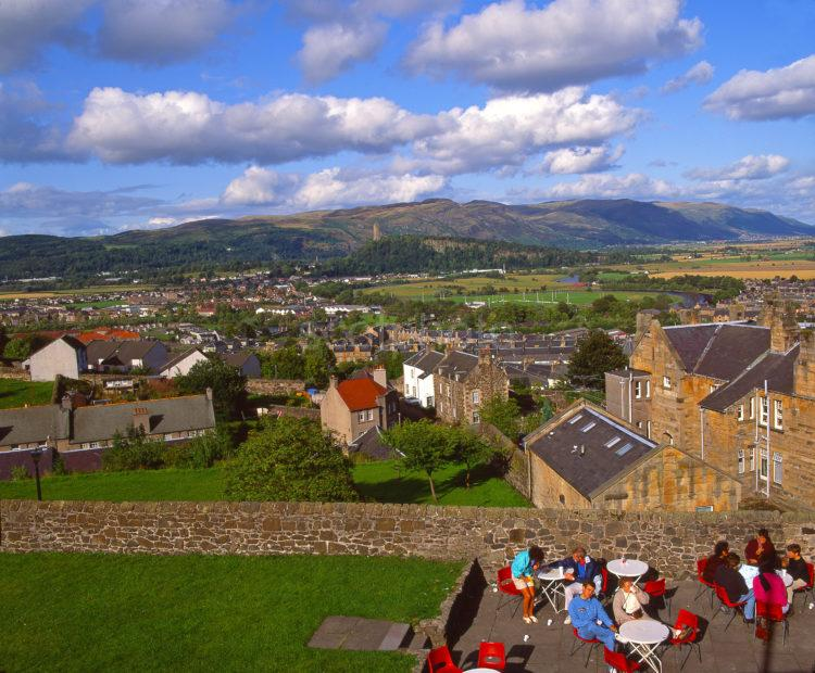 Tearoom On The Castle Esplanade Of Stirling Castle With A View Towards The Ochil Hills Stirling