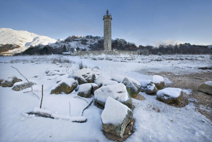 Y3Q9845 Icy Shore Loch Sheil With Glenfinnan Monument