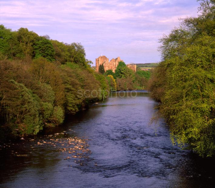 Towards Doune Castle From River Teith 14th Cent Castle Of Enclosure