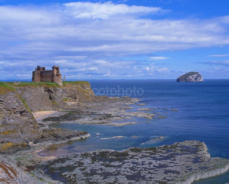 Beautiful View Towards Tantallon Castle And Bass Rock East Lothian Scotland