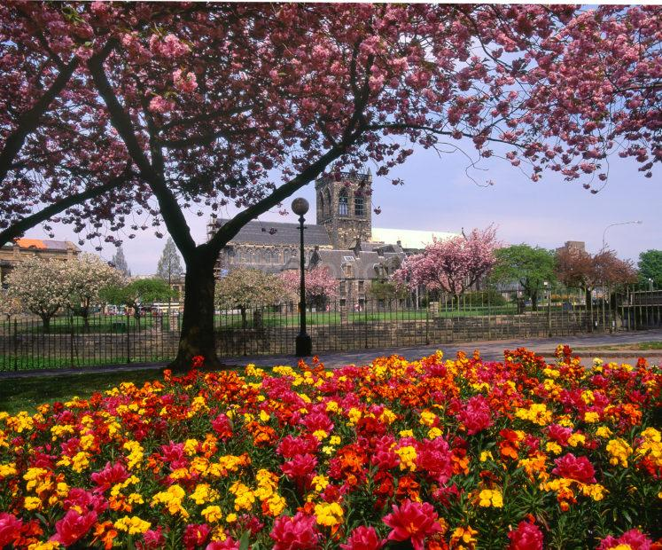 Springtime View Of Paisley Abbey Paisley Renfrewshire Glasgow