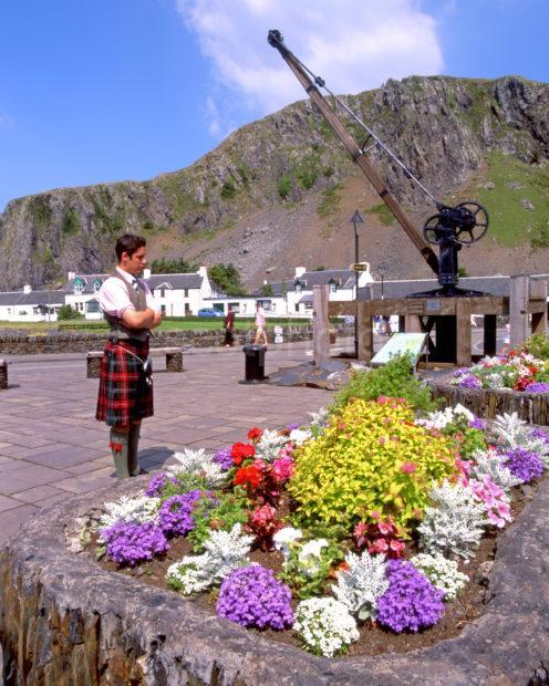 Scene In Easdale Village Ellenabeich From Nr Pier Seil Argyll