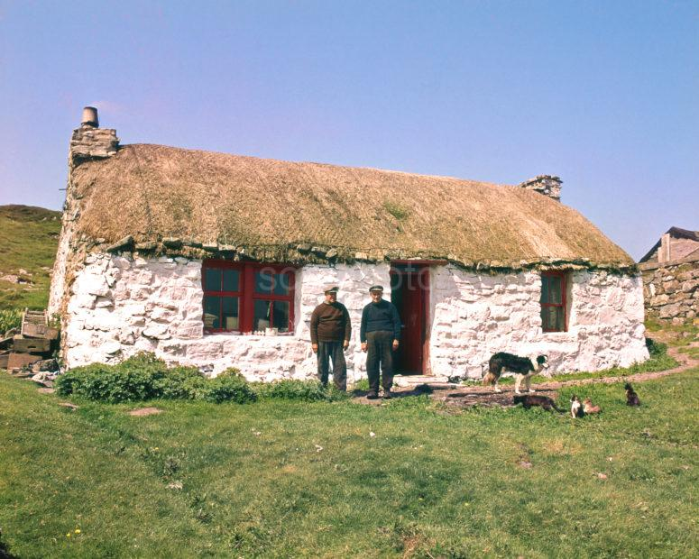 The Twins In Their Thatched Croft At Soridale Coll In The Late 70s