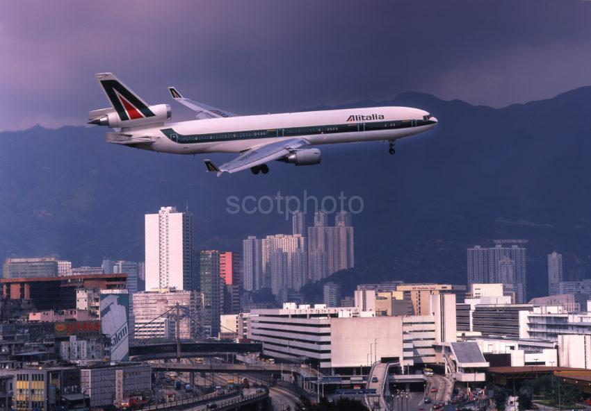Alitalia MD11 On Finals To Kai Tak Hong Kong
