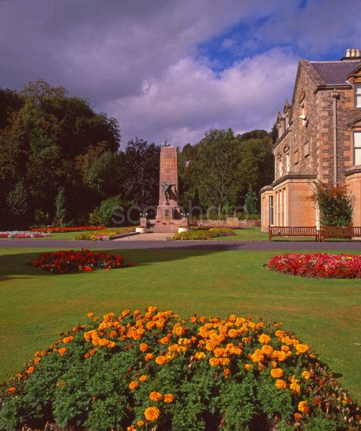 Wilton Lodge Park And Museum With Landscaped Gardens Memorial On The Banks Of The River Tweed Hawick Scottish Borders