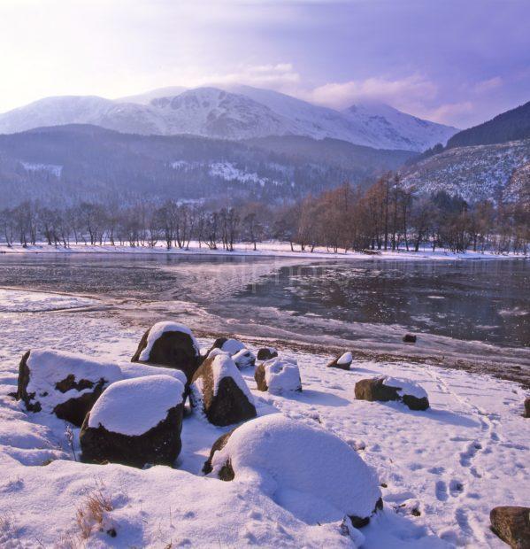 Winter Scene From Shore Of Loch Lubneag Nr Callander Trossachs Hills
