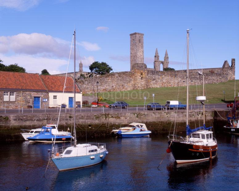 St Andrews Cathedral And St Rules Tower From Harbour Fife