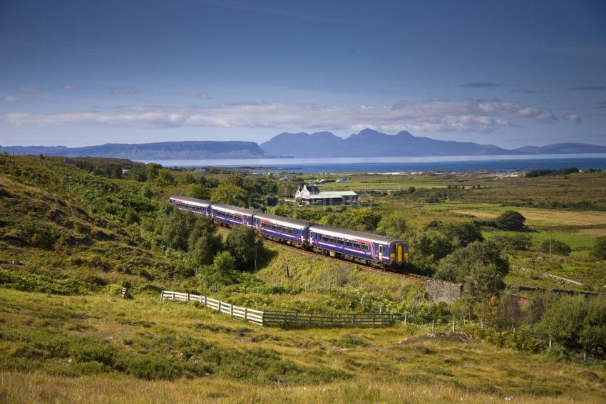 Great Shot Of Sprinter With Rhum In View Mallaig Line