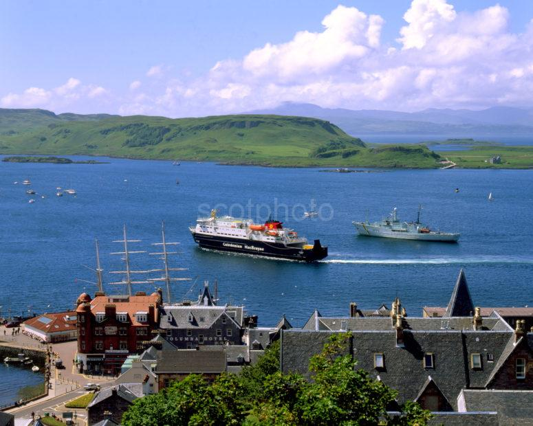 View Of Oban Bay From MacCaigs Tower With Tall Ship And Car Ferry Argyll