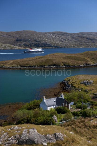 MV Hebrides Pass A Croft On Loch Tarbert Harris