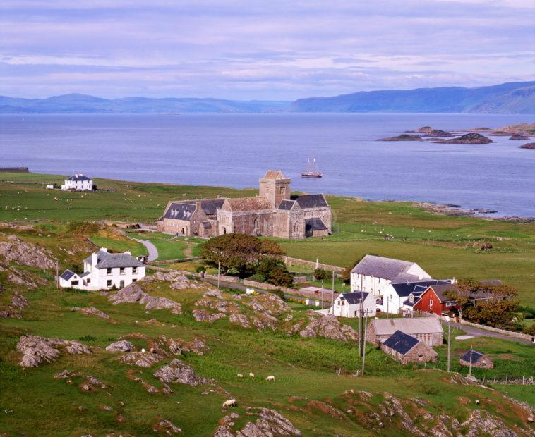 Towards Iona Abbey And Distant Mull From Island Of Iona