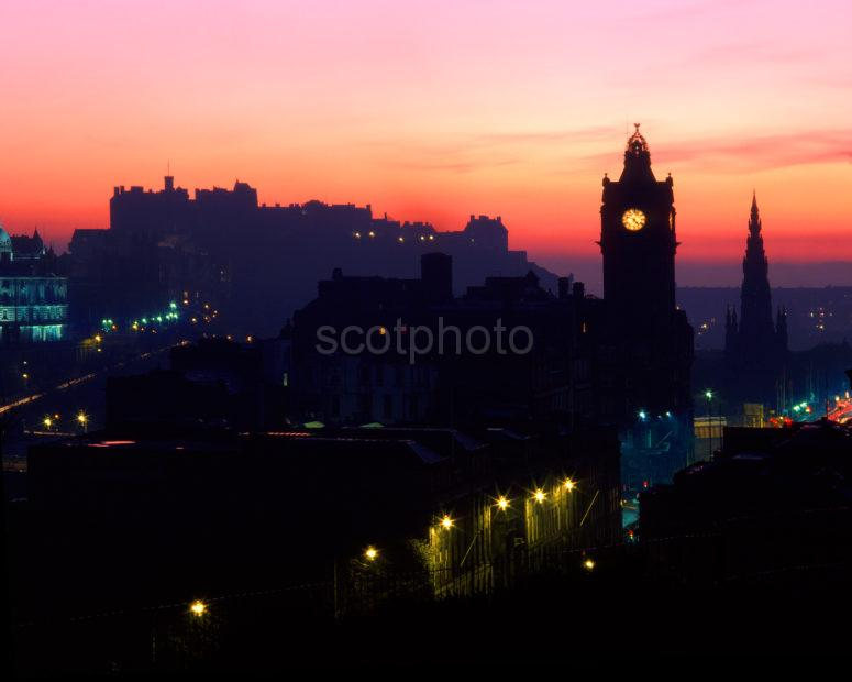 Edinburgh Castle And Skyline At Dusk As Seen From Calton Hill