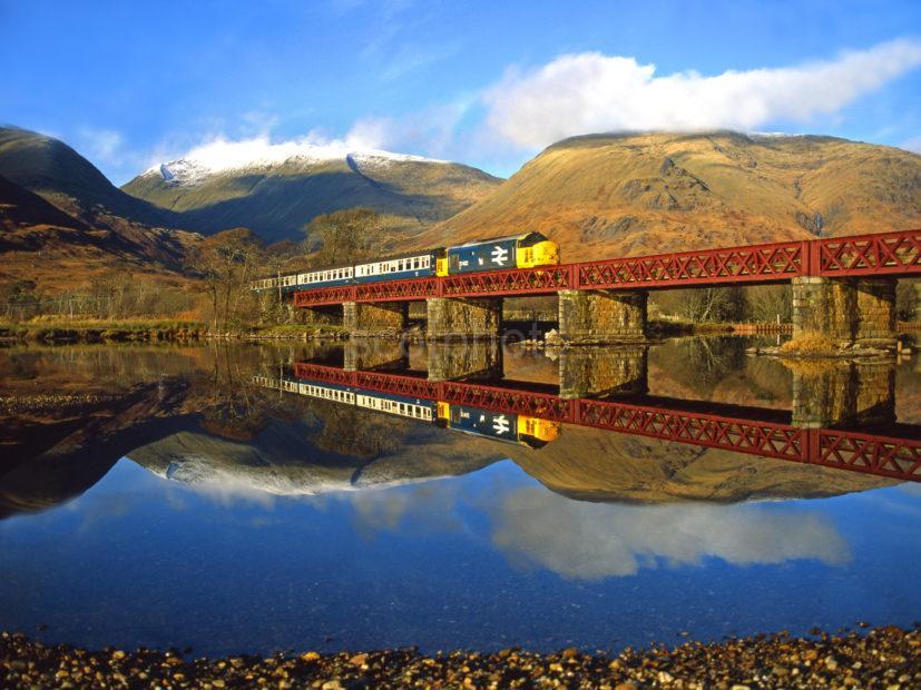 Class 37 Oban Glasgow Train Crosses Loch Awe