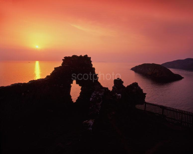 Sunset Silhouette At Dundulm Castle Skye