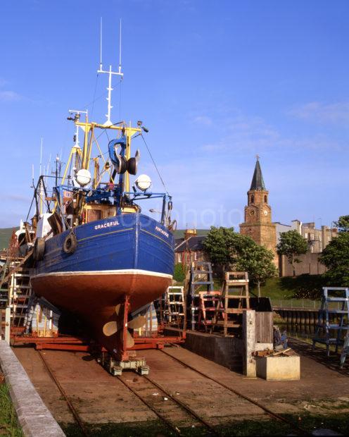 Fishing Boat On The Stocks At Girvan Ayrshire