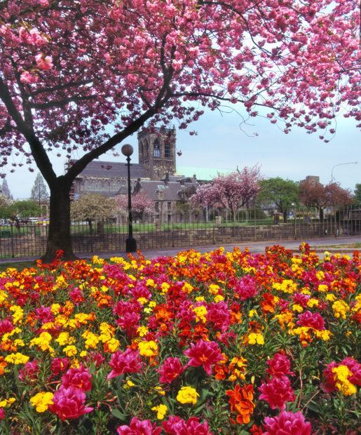 Springtime View Of Paisley Abbey Paisley Town Centre Renfrewshire