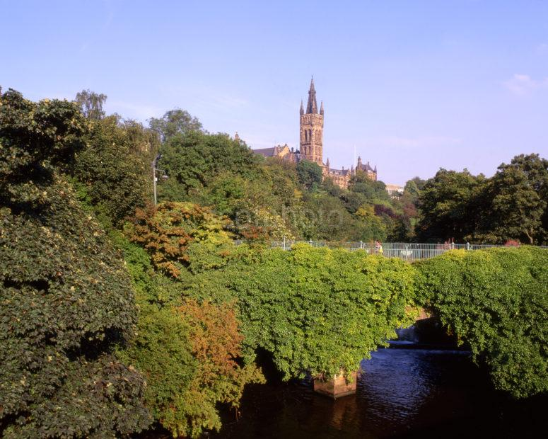 Glasgow University Gothic Tower From River Kelvin West End Of Glasgow