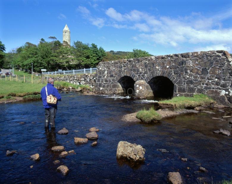 Fishing On The River Bellart With Kilmore Celtic Church Tower Dervaig Mull