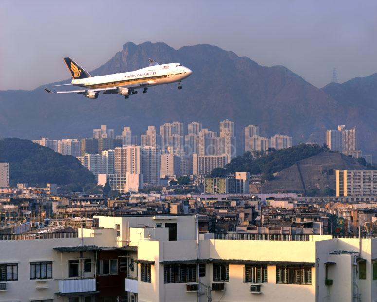 Singapore Airlines 747 400 Landing Kai Tak Sharpened For Print