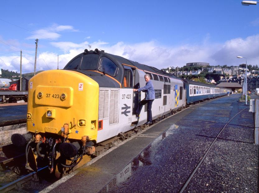 Class 37 423 In Freight Livery Oban Station With Oban Glasgow Train 1988