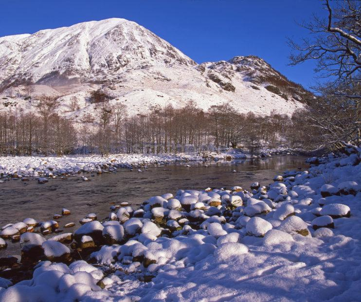 Winter Scene In Picturesque Glen Nevis From The River Nevis Lochaber West Highlands