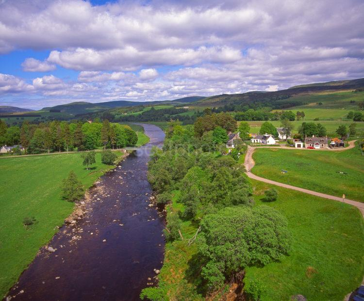 View Of The River Findhorn And Raigbeg Hamlet From The Road Bridge At Tomatin Strathdearn Inverness Shire