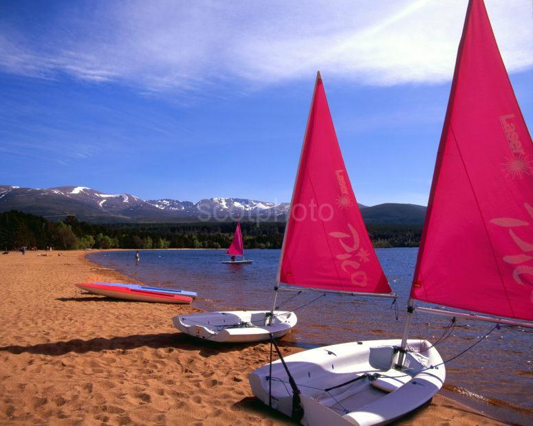 Red Sails On Shore Of Loch Morlich