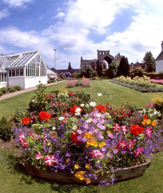 Melrose Abbey Ruins From Abbey Gardens Melrose Scottish Borders