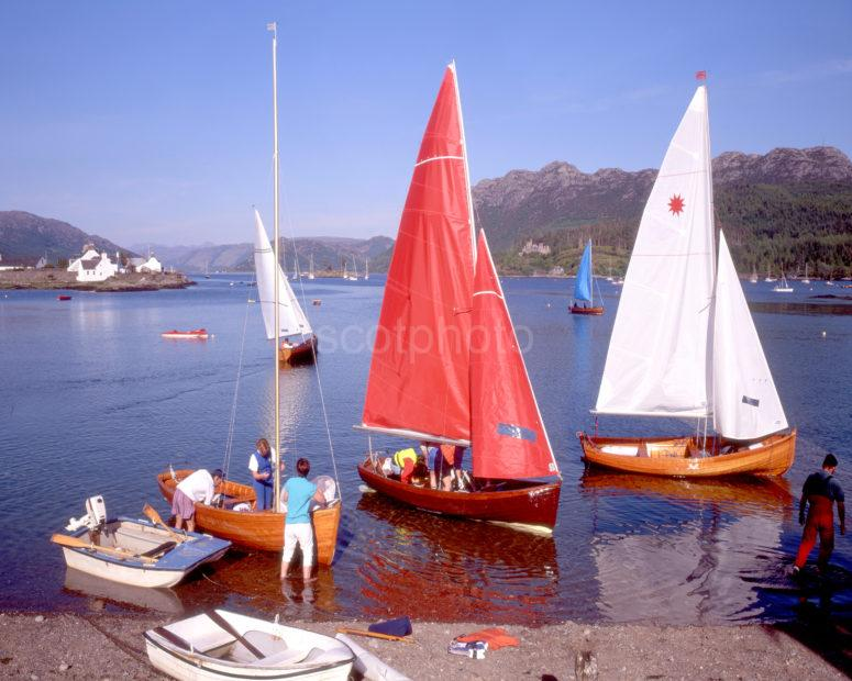 Yachts On The Shore Of Loch Carron In Plockton Wester Ross