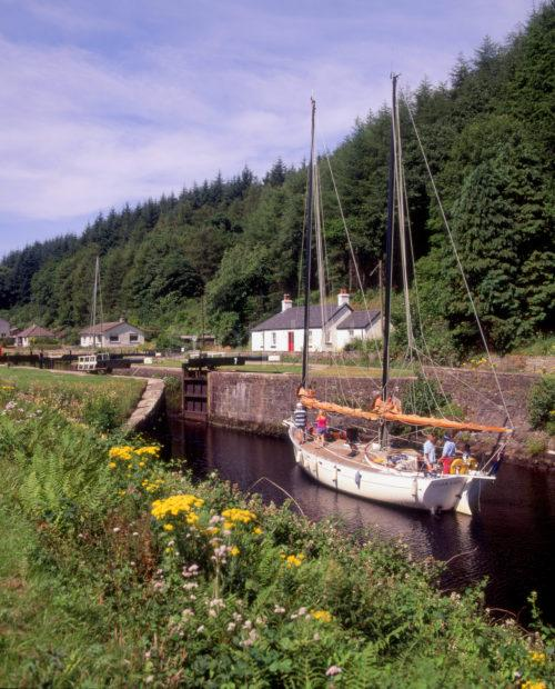 Yacht On The Crinan Canal Nr Cairnbaan