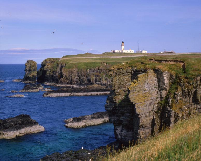 Noss Head Lighthouse And Cliffs Near Wick Caithness