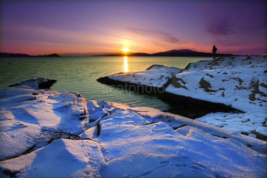 Winter Sunset Across Loch Melfort Towards Luing