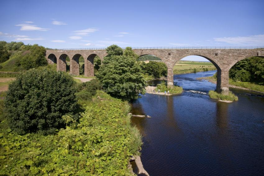 The River North Esk And Disused Rail Viaduct Nr Marykirk