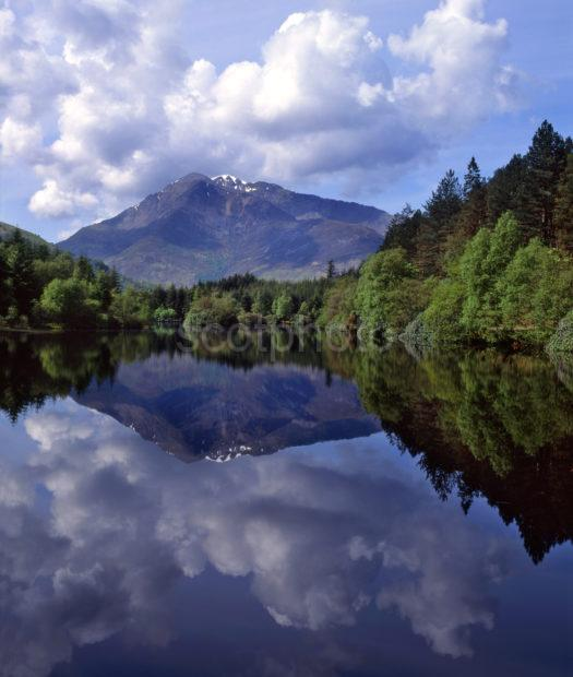 Reflections From Lochan Trail Forest Walk Glencoe With Ben Vair