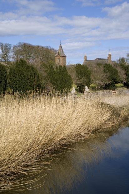 WY3Q9782 River Reeds And Church On Lunan Water Nr Lunan Angus