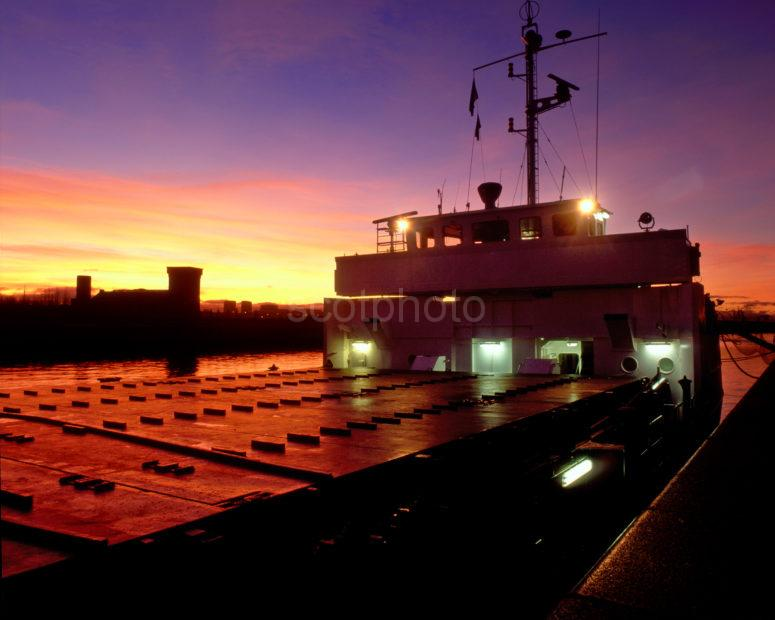 Small Freighter In Glasgow Docks Near Finnieston