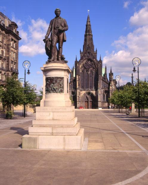 David Livingstone Statue And Glasgow Cathedral City Of Glasgow
