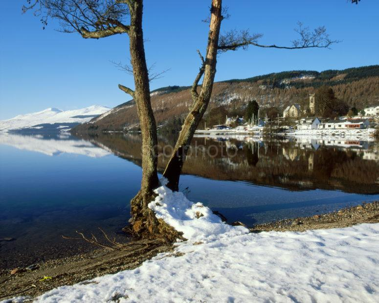 Winter View From Loch Tay With Kenmore And Ben Lawers