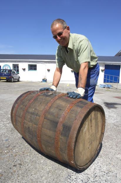 1372 Rolling The Barrels At Bruichladich Distillery Islay