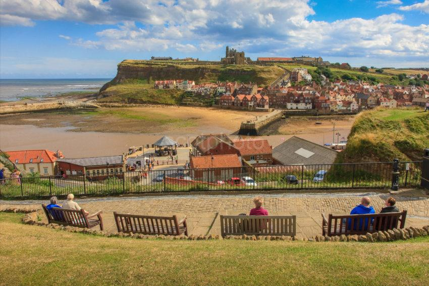 GREAT VIEW ACROSS WHITBY BAY TOWARDS ABBEY