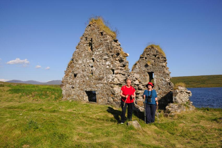 Two American Tourists At Finlaggan Ruins Loch Finlaggan Islay
