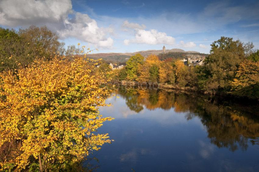 Autumn On The River Forth From Old Stirling Bridge To Abbey Craig