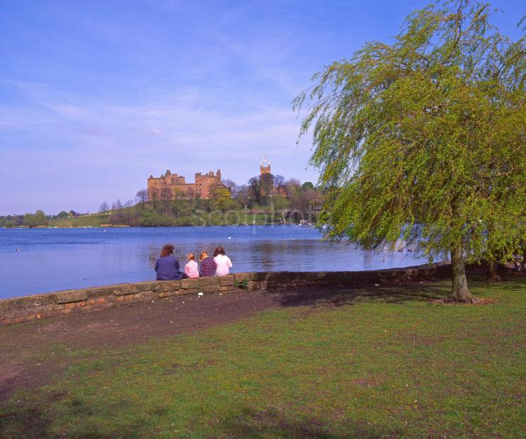 Early Springtime View From The Shore Of Linlithgow Loch With Distant Linlithgow Palace In View Linlithgow Midlothian