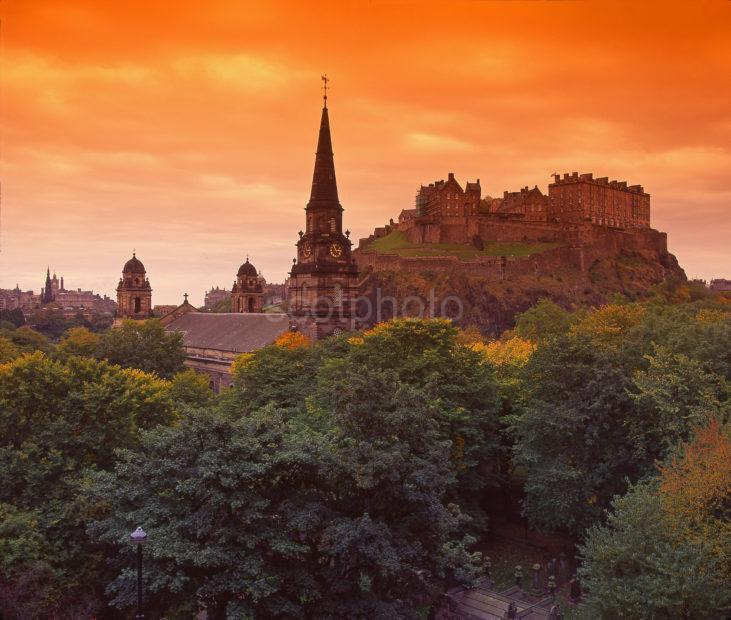 Autumn View Of Edinburgh Castle And Saint Cuthberts Church As Seen From The Caledonian Hotel Edinburgh City Centre