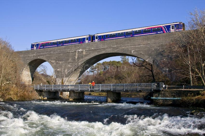 First Scotrail Super Sprinter Crosses Morar Viaduct Fort William Mallaig Line