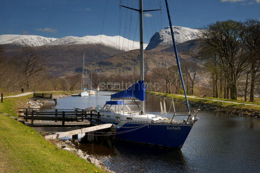 Caledonian Canal Nr Corpach With Ben Nevis
